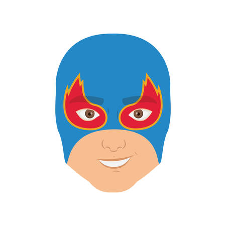 man flying: colorful silhouette with man superhero and middle mask and shape of flame around the eyes and without contour vector illustration Illustration
