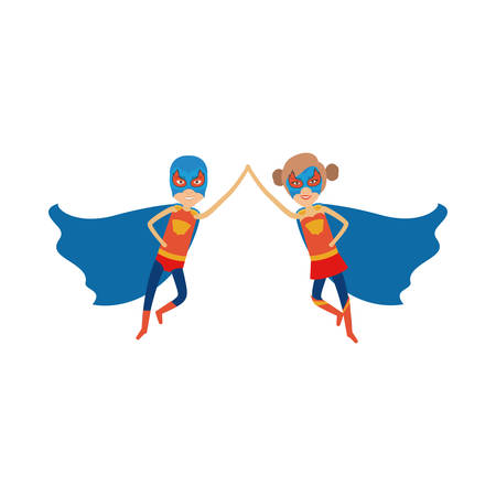 duo: colorful silhouette with duo of superheroes flying united of the hands and her with collected hair and without contour vector illustration