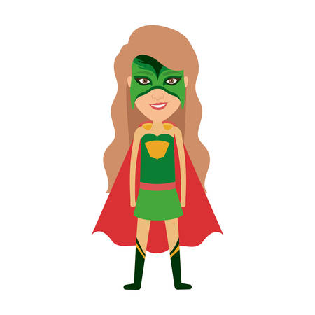 hair mask: colorful silhouette with standing girl superhero with long hair and without contour vector illustration Illustration
