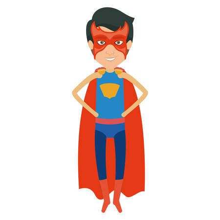 man flying: colorful silhouette with superhero young flying with hands in your waist and without contour vector illustration Illustration
