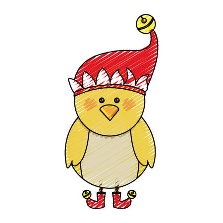 color crayon stripe cartoon of chicken with boots and christmas hat vector illustration