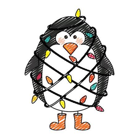 Rayas De Color Dibujos Animados De Cara De Pingüino Con Bufanda Y ...