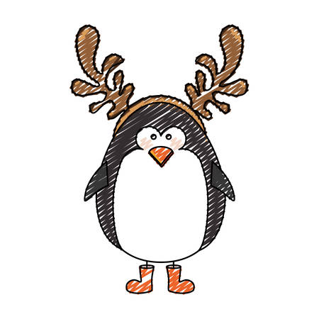 color crayon stripe cartoon of penguin with horns of reindeer vector illustration Illustration