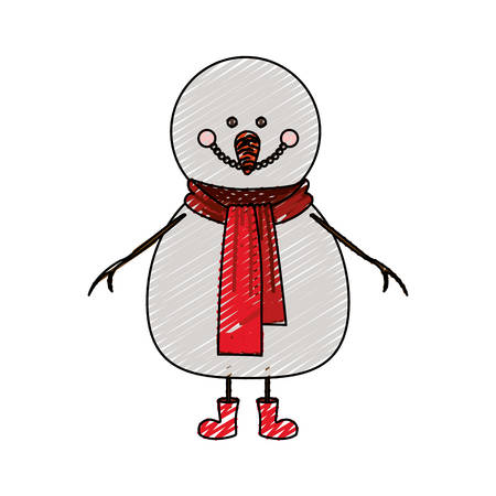 color crayon stripe cartoon of snowman with red scarf and boots vector illustration