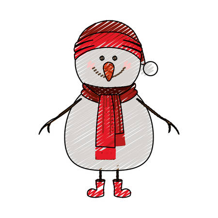 color crayon stripe cartoon of snowman with red cap and scarf and boots vector illustration Illustration