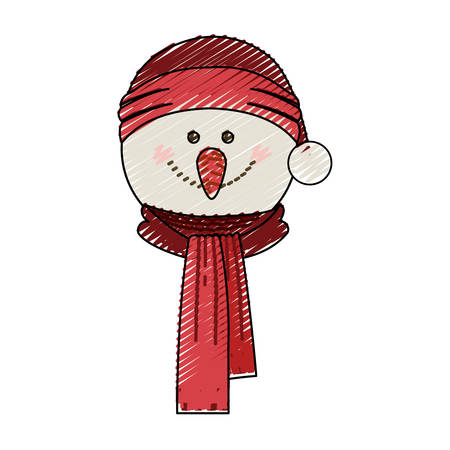 color crayon stripe cartoon of snowman face with scarf and christmas hat vector illustration Illustration