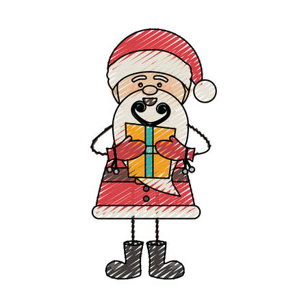 color crayon stripe cartoon of funny santa claus with gift box vector illustration