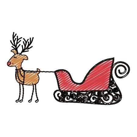 santa sleigh: color crayon stripe cartoon of funny reindeer with sleigh vector illustration