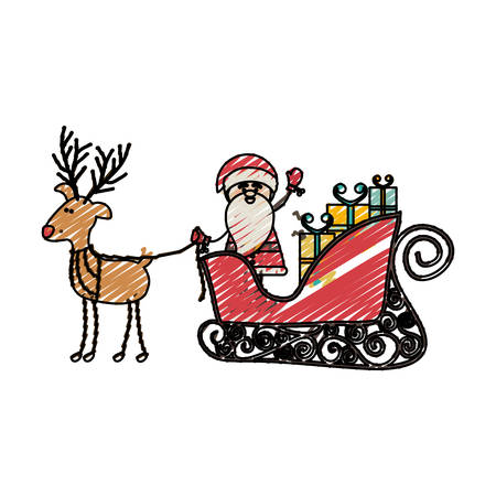 color crayon stripe cartoon of funny reindeer with santa claus in sleigh with gifts vector illustration