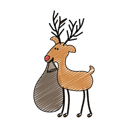 santa sleigh: color crayon stripe cartoon of funny reindeer with christmas gift bag vector illustration