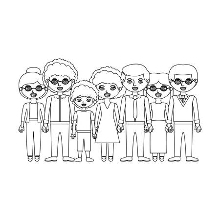 crowd happy people: monochrome silhouette with family group and some with curly hair vector illustration