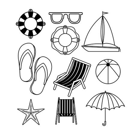 flotation: monochrome set of icons of vacations beach vector illustration