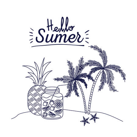 Poster of hello summer with landscape of palm trees with pineapple fruit and citrus drink bottle vector illustration