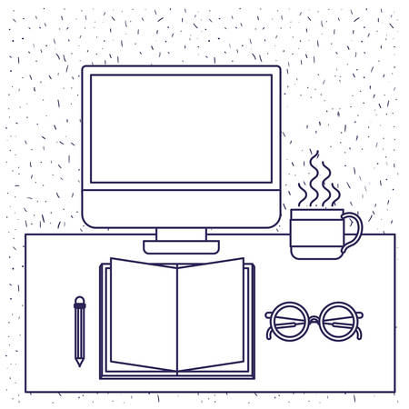 note paper: white background with blue silhouette of office desk with computer book and glasses and pencil and coffee cup vector illustration