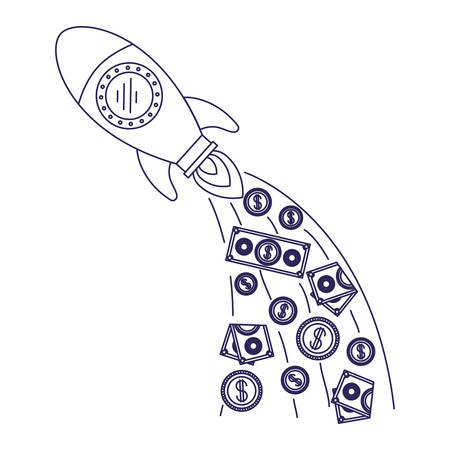 white background with blue silhouette of space rocket with money falling vector illustration