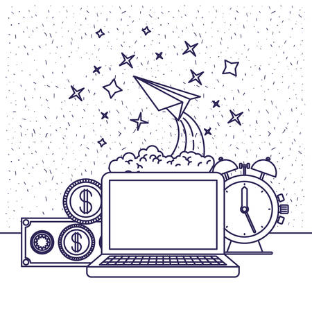 spacial: white background with blue silhouette of computer and clock and paper plane and money in closeup vector illustration