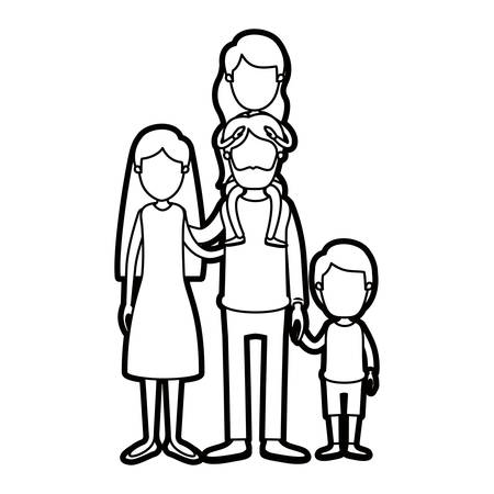 Skizze Kontur Karikatur Halbkörper Familie Mutter Und Vater Mit ...