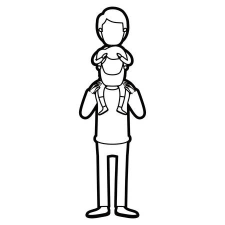 Helle Farbe Karikatur Dicke Kontur Junge Vater Mit Jungen Auf Dem ...
