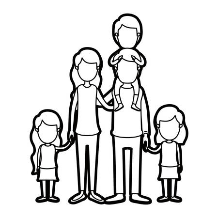 Helle Farbe Karikatur Dicke Kontur Große Familie Eltern Mit Jungen ...