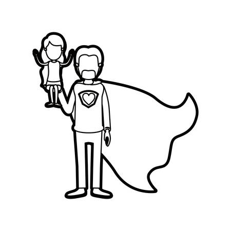caricature thick contour faceless full body super dad hero with girl on his hand vector illustration