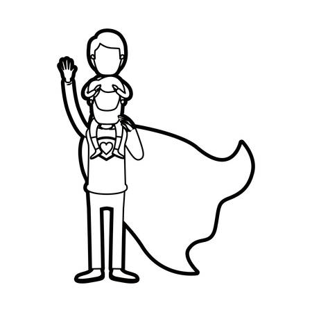 caricature thick contour faceless full body super dad hero with girl on his back vector illustration