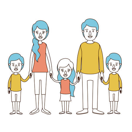 caricature color sections and blue hair of family with young parents and little kids taken hands vector illustration Illustration