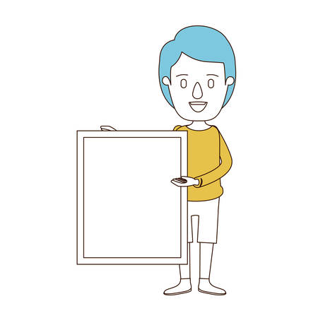 board shorts: A caricature color sections and blue hair of full body man holding a square poster vector illustration