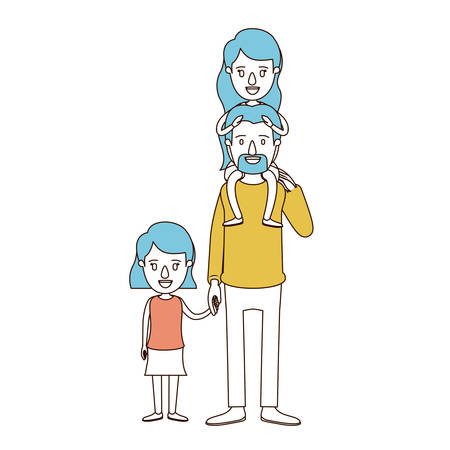 taken: A caricature color sections and blue hair of dad with daughter on his back and girl taken hands vector illustration.