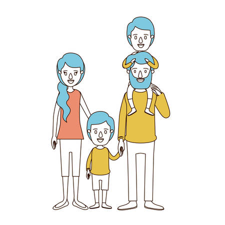 caricature color sections and blue hair of family parents with boy on his back and girl taken hands vector illustration