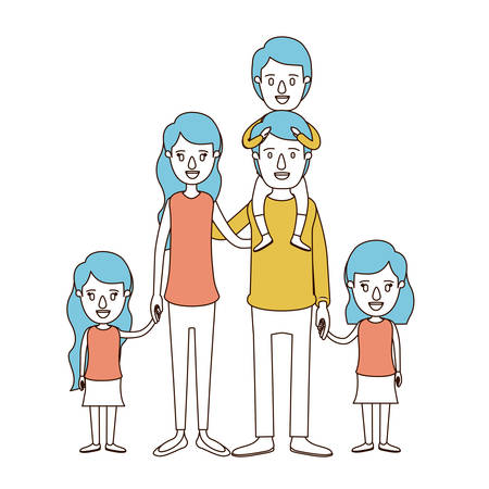 A caricature color sections and blue hair of big family parents with boy on his back and daughters taken hands vector illustration.