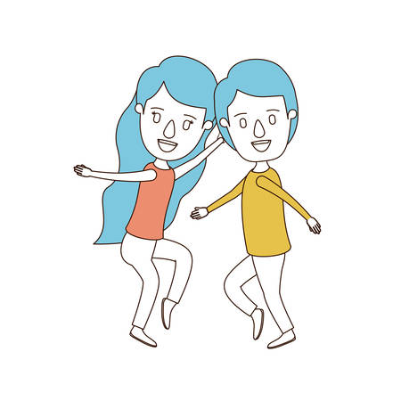 long nose: A caricature color sections and blue hair of full body couple dancing vector illustration.