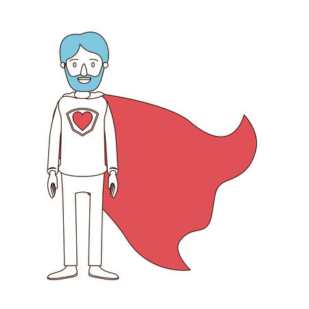 caricature color sections and blue hair of full body super dad hero with beard and heart symbol in uniform vector illustration Illustration