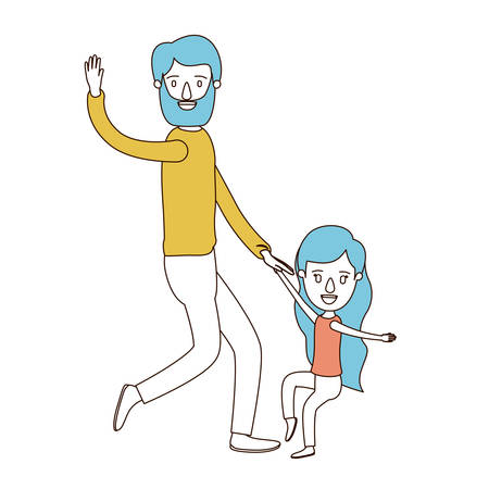 caricature color sections and blue hair of bearded father with girl dancing vector illustration Illustration