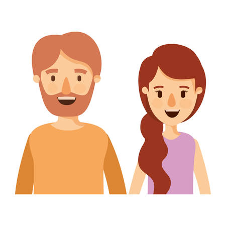 colorful caricature half body couple woman with ponytail side hair and bearded man vector illustration Illustration