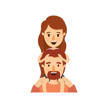 colorful caricature half body bearded father with moustache and girl on his back vector illustration Illustration