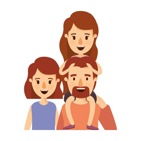 colorful caricature half body big family parents with girl on his back vector illustration