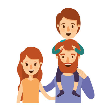 happy couple: colorful caricature half body family with wavy long hair woman and bearded man with boy on his back vector illustration