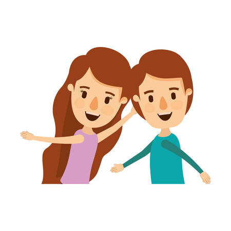 happy couple: colorful caricature side view half body couple children dancing vector illustration