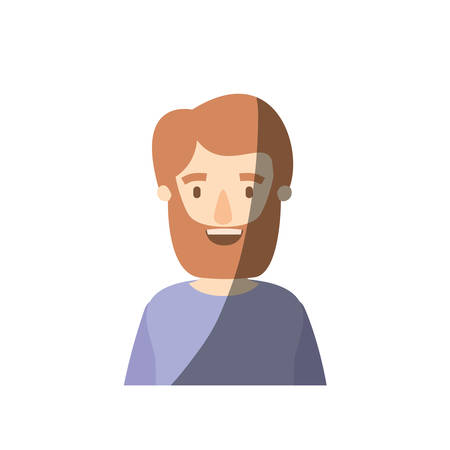 light color shading caricature half body man bearded with t-shirt vector illustration