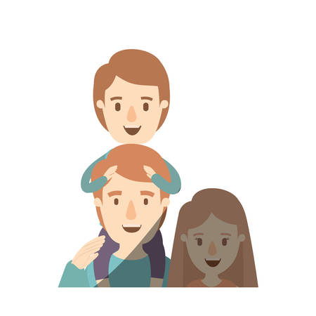Light color shading caricature half body family mother and father with boy on his back vector illustration