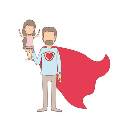 light color caricature faceless full body super dad hero with girl on his hand vector illustration Illustration