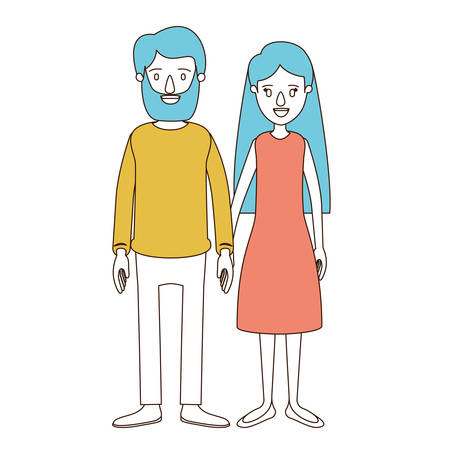 happy couple: caricature color sections and blue hair of full body couple woman with long hair in dress and man in casual clothing vector illustration