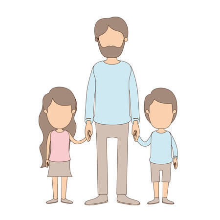 light color caricature faceless full body bearded man taken hand with girl and boy vector illustration Illustration