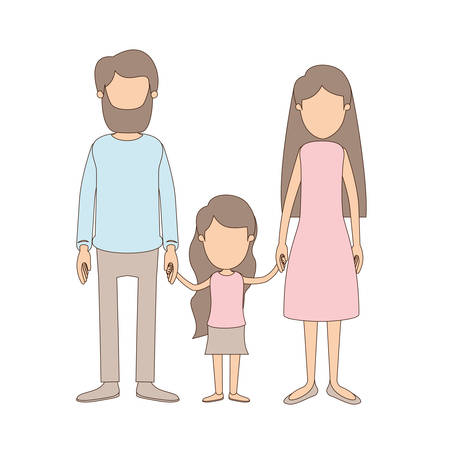 light color caricature faceless family with father bearded and mom with long hair with little girl taken hands vector illustration