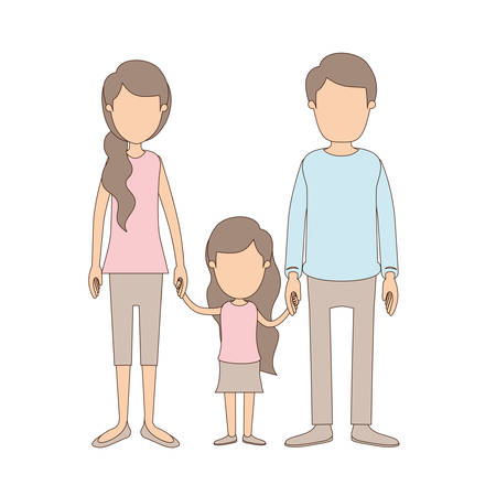 light color caricature faceless family with young father and mom with side ponytail hair with little girl taken hands vector illustration Illustration