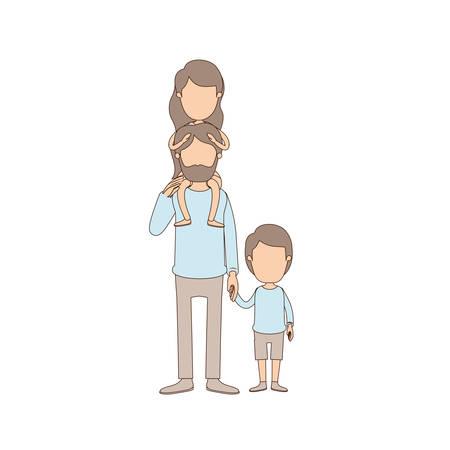 Helle Farbe Karikatur Gesichtslosen Bärtigen Vater Mit Jungen Auf ...