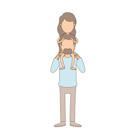 light color caricature faceless bearded father with moustache and girl on his back vector illustration