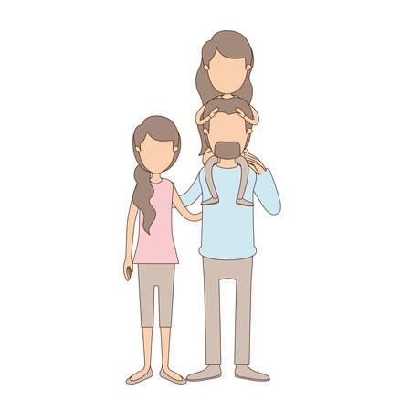 Farbe Kreide Streifen Cartoon Familie Mit Mutter Und Vater Mit ...
