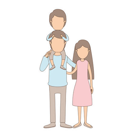 light color caricature faceless family mother and father with boy on his back vector illustration