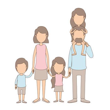 Caricatura color claro sin rostro grandes padres de familia con chica en su espalda y niños tomados de la mano ilustración vectorial